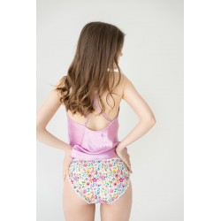Flower pattern pad panties for heavy flow organic cotton back view