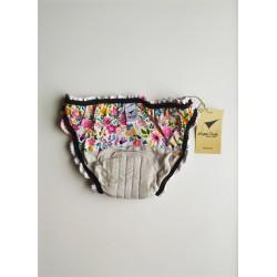 Culotte menstruelle motifs fleurs vue intérieure arrière