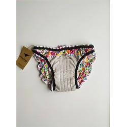 Culotte menstruelle motifs fleurs vue intérieure avant
